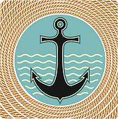 Nautical anchor symbol with rope frame decoration on white background