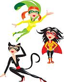 Set of cartoons Super hero Girls