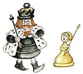 cartoon chess king and pawn