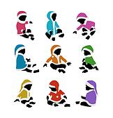 lovely baby santa colorful silhouettes set