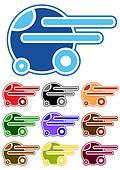 Set of color cartoon cars
