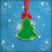 Vintage Blue Background Christmas Tree Ribbon