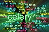 Celery multilanguage wordcloud background concept glowing