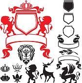 Set of heraldic silhouettes element