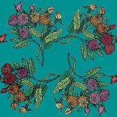 seamless pattern with chrysanthemum