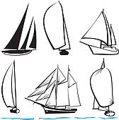 silhouettes of yachts