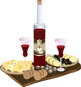 Bottle of red wine glasses,
