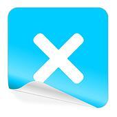 cancel blue sticker icon