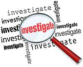 Investigate Word Magnifying Glass Close Inspection Facts