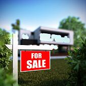Home For Sale sign in front of modern house.