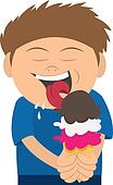 Kid Licking an Ice Cream Cone