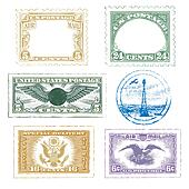 Air Mail Stamps Icon Set