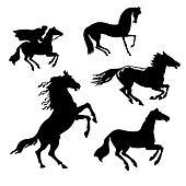 set of the horses on white background