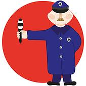 The policeman with a staff