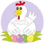 White hen with multi-colored eggs
