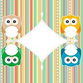 baby owl scrap background. intitation card. vector
