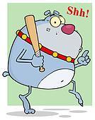 Grey Bulldog With Baseball Bat