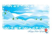 winter landscape with skier
