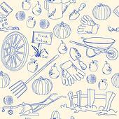 Hand Drawn Seamless Garden Icon Set