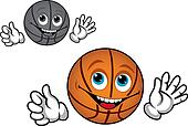 Smiling basketball ball