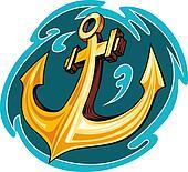 Anchor in ocean water