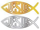 silver and gold christian fish symbol - illustration