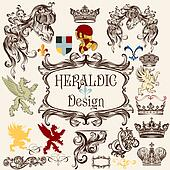 Collection of vector heraldic elements for design