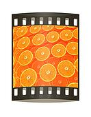 many half oranges are beautiful half orange background. The film strip