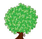 Vector illustrationof a  tree for St. Patrick's Day with four leaf clover isolated on white background.