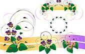 Design parts with bouquets of viole