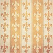 Royal lily (fleur-de-lis) pattern green and yellow vintage background