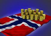 Norwegian economy concept with national flag and golden coins