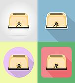 toaster household appliances for kitchen flat icons illustration