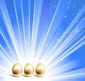 Gold eggs and blue star background