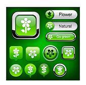 Flower high-detailed modern buttons.