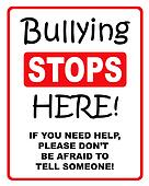 Bullying stop here sign