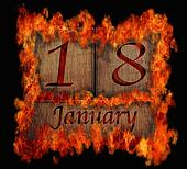 Burning wooden calendar January 18.