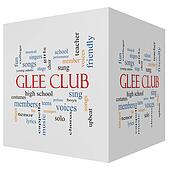 Glee Club 3D cube Word Cloud Concept