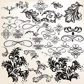 Collection of vector decorative flourishes