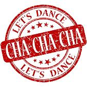 Cha cha cha red vintage grungy isolated round stamp