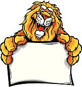 Happy Lion Cartoon with Sign