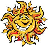 Happy Sun Cartoon with a Big Smile
