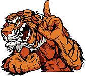 Tiger Mascot Body Vector Cartoon