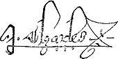 Signature of Charles V, King of France, (1337-1380), vintage engraving.