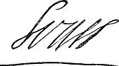 Signature of Louis XIV or Louis the Great or Sun King, King of France (1638-1715), vintage engraving.