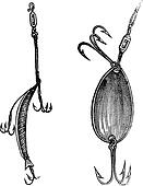 Fishing Lures, Fig. 86. Plug, Fig. 87. Spoon, vintage engraved illustration. Magasin Pittoresque 1874.