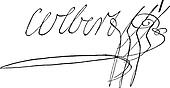 Signature of Marie-Anne Charlotte Corday d'Armont  or Charlotte Corday (1768-1793), vintage engraving.