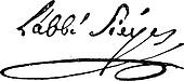 Signature of Emmanuel Joseph Sieyes or Abbe Sieyes (1748-1836), vintage engraving.