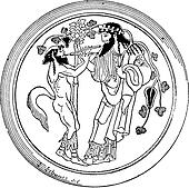 Satyr and Dionysus vintage engraving