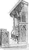 Church stall at Anellau, France, vintage engraving.